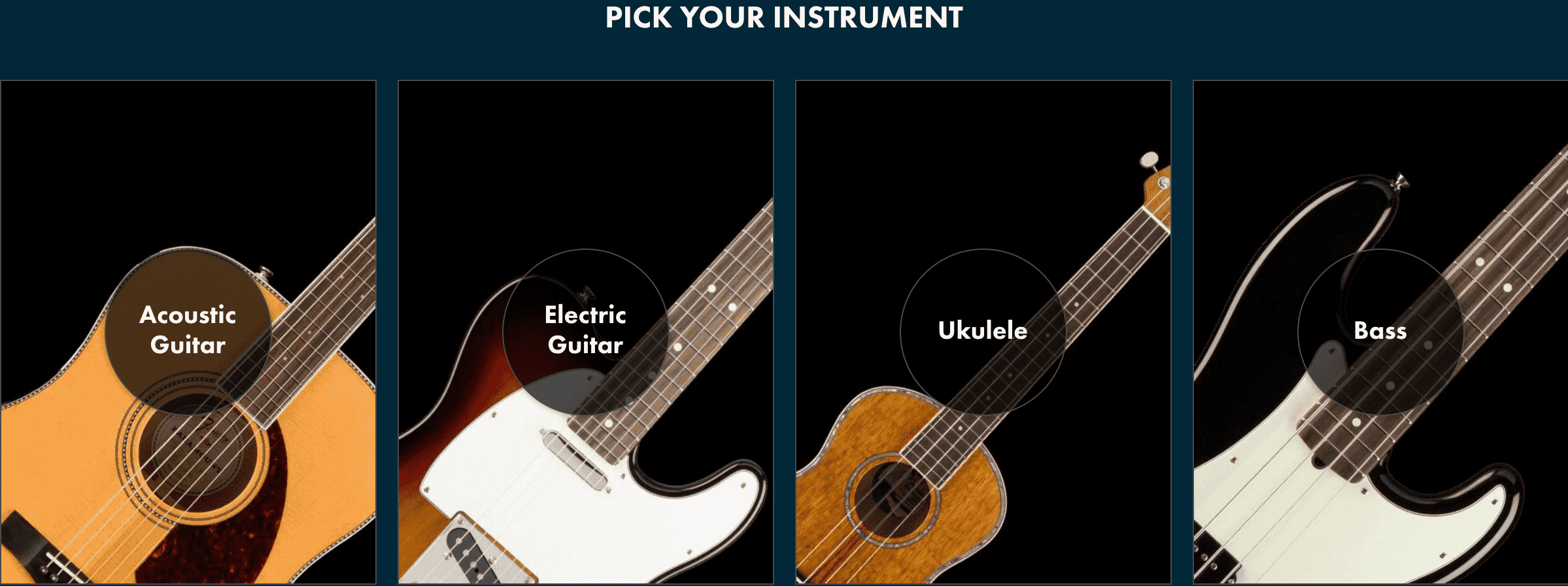 Fender Play guitar type selection